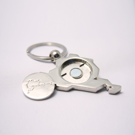 Keyring incl. trolley coin Green/Details:2